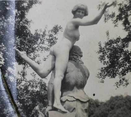 Pictures from the archive at Kings College Cambridge of 'The Bloomsbury Group'. Pictured is Dora Carrington naked on a statue. See MASONS story MNBLOOM; A rare archive featuring hundreds of intimate letters and revealing photographs of famous Bloomsbury Group intellectuals the opened to the public for the first time. British literary greats including Virginia Woolf, EM Forster and Lytton Strachey all formed part of the romantically-entangled and controversial intellectual circle. The unique archive comprises of thousands of pages of previously unseen correspondence between Bloomsbury luminaries and 30 albums of photographs, many of them saucy nude shots. It also offers startling insights into key events such as Virginia Woolf's fatal disappearance in 1941 and the tragic suicide of the artist Dora Carrington.